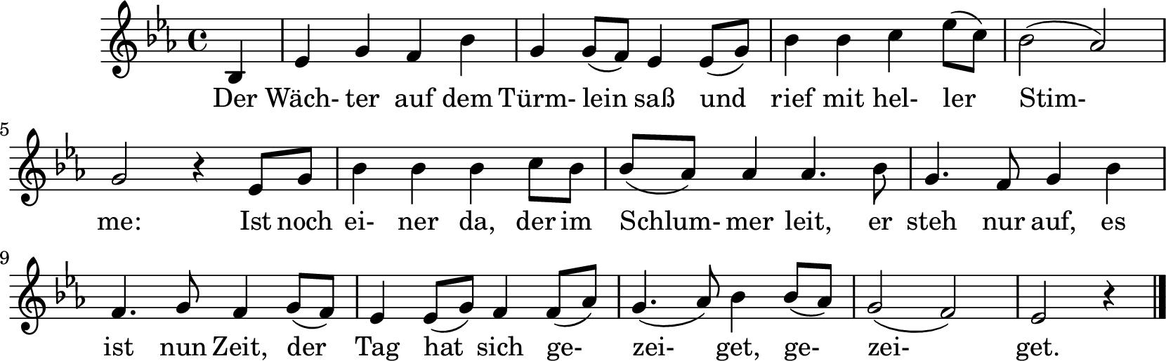 Notenblatt Music Sheet Der Wächter auf dem Türmlein