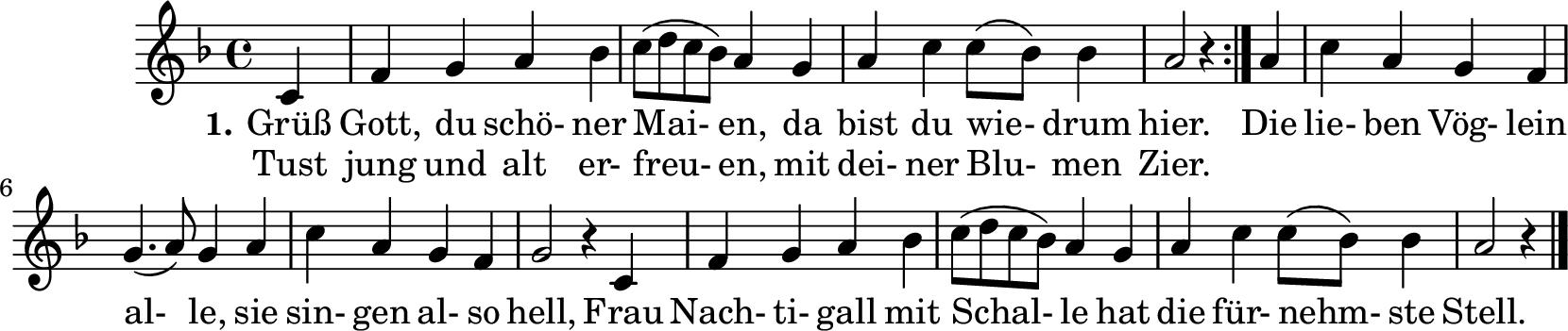 Notenblatt Music Sheet Grüß Gott, du schöner Maien