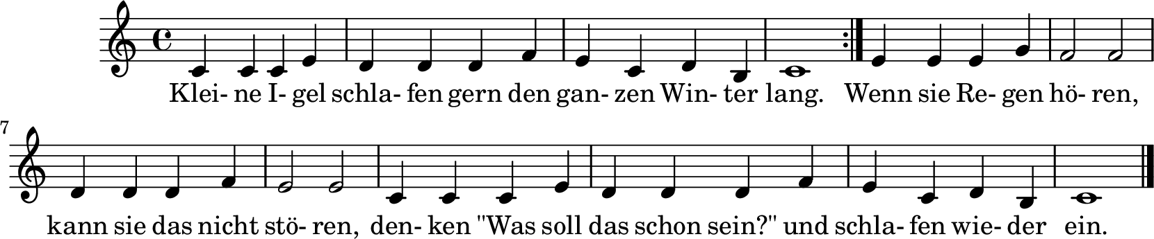 Notenblatt Music Sheet Kleine Igel