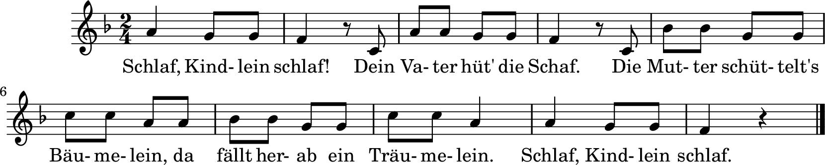 Notenblatt Music Sheet Schlafkindlein