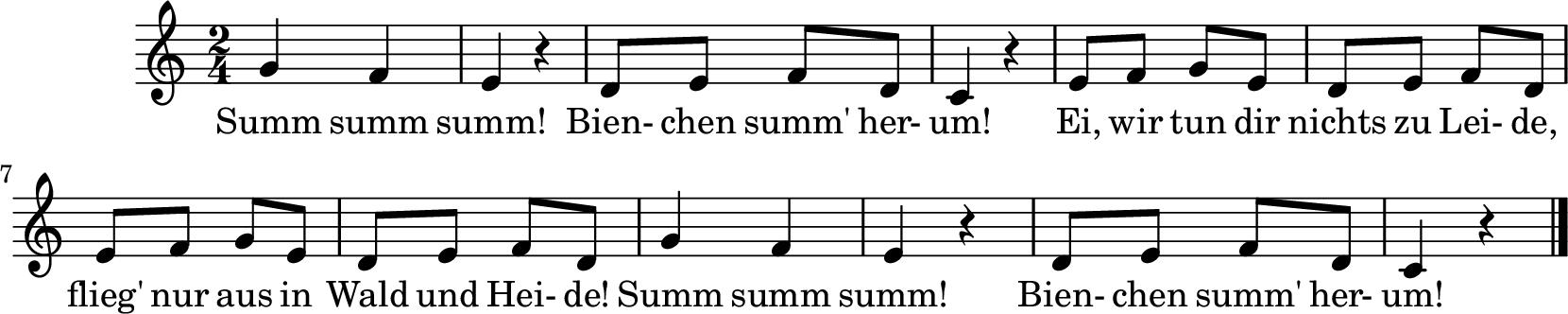 Notenblatt Music Sheet Summ, summ, summ (Bienchen summ herum)