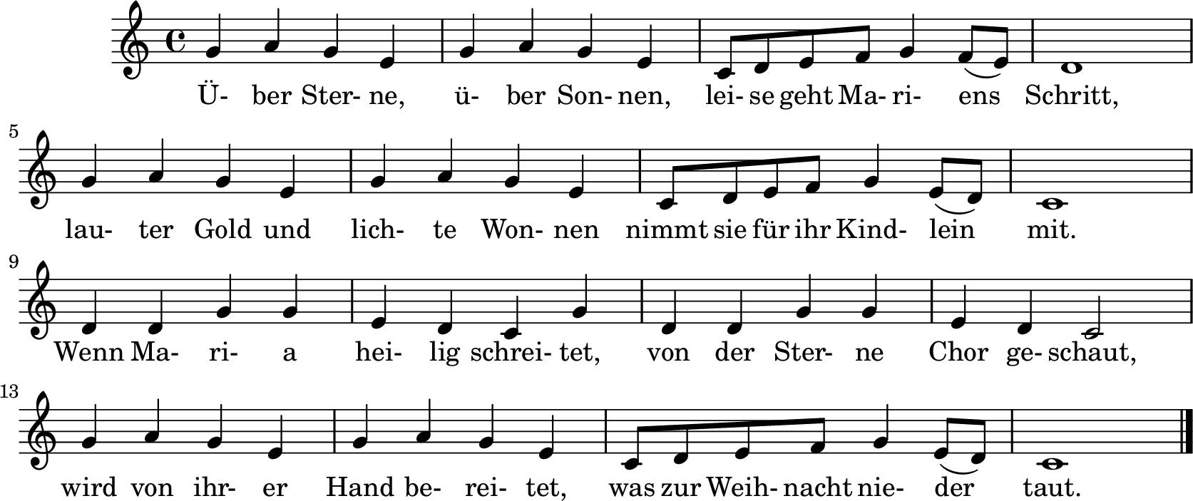 Notenblatt Music Sheet Über Sterne, über Sonnen