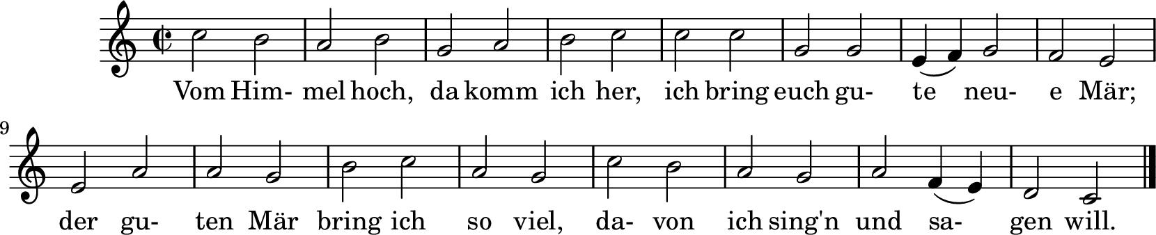 Notenblatt Music Sheet Vom Himmel hoch