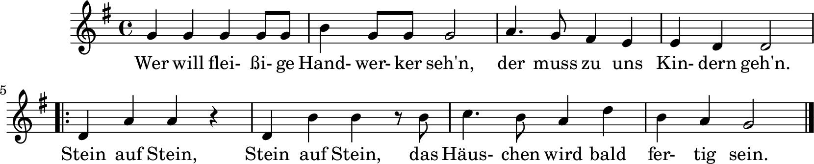 Notenblatt Music Sheet Wer will fleißige Handwerker sehn