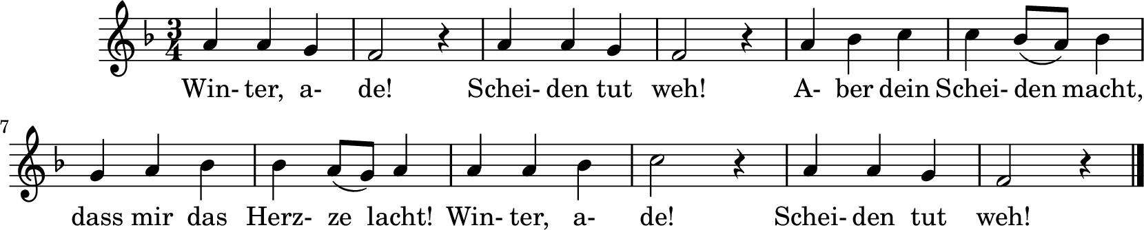 Notenblatt Music Sheet Winter ade!