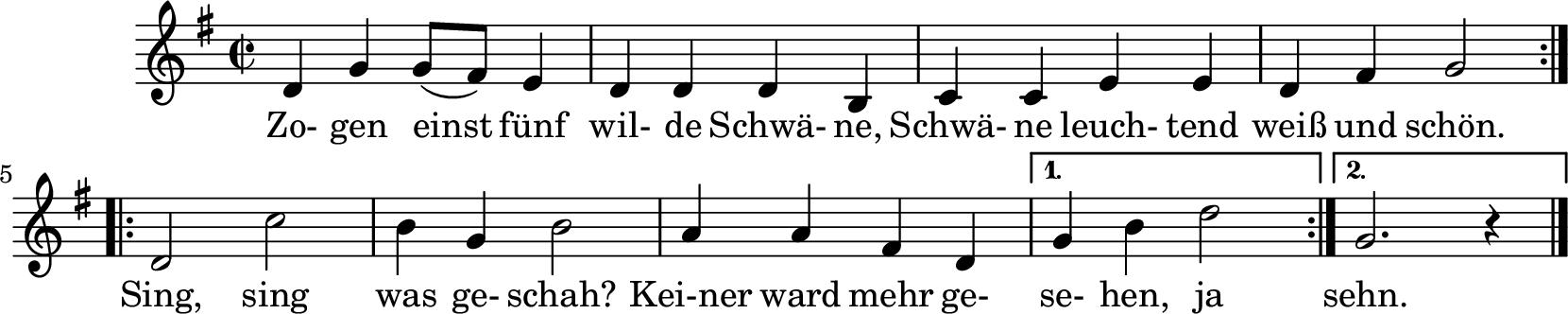 Notenblatt Music Sheet Zogen einst fünf wilde Schwäne