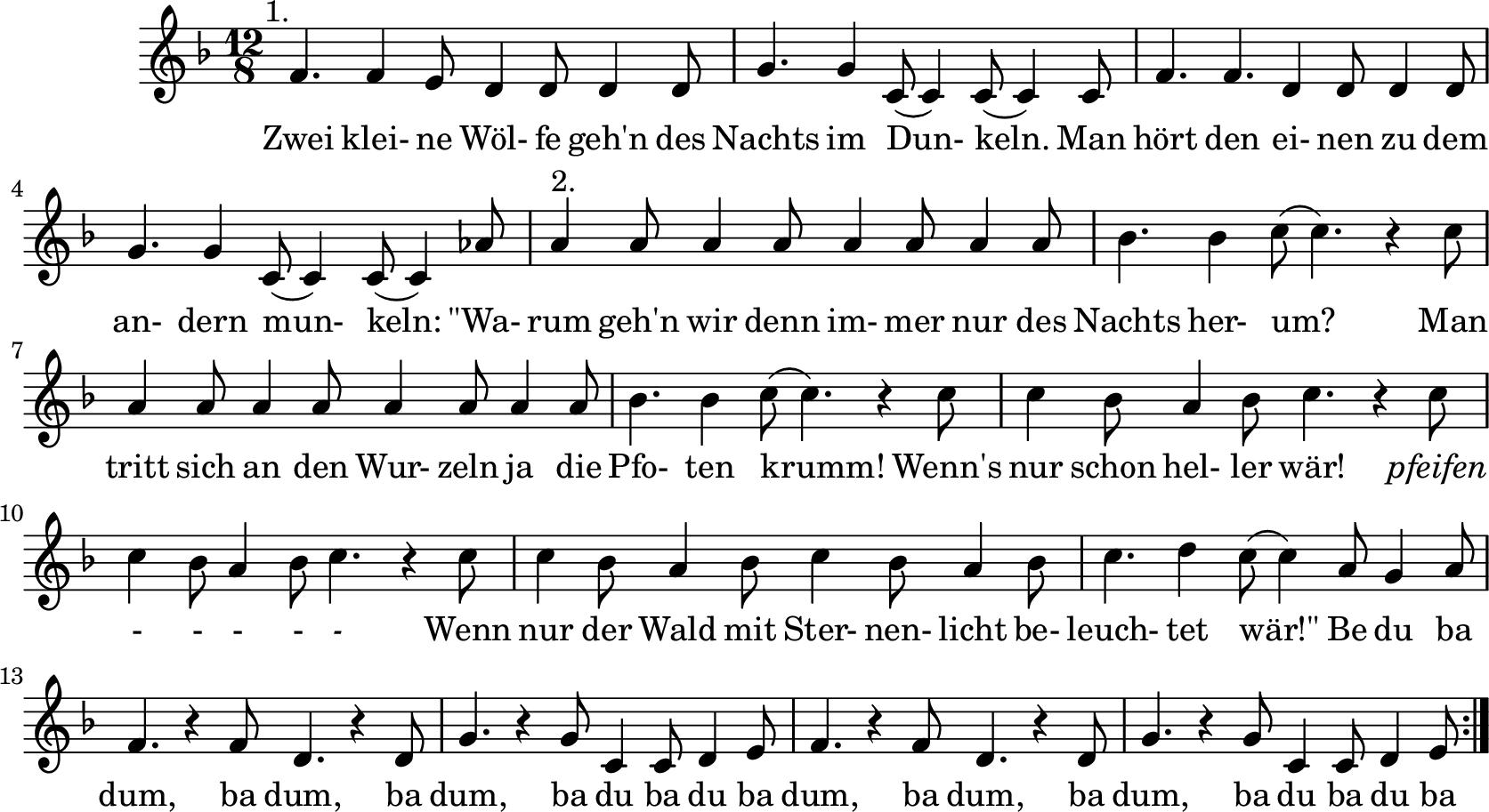 Notenblatt Music Sheet Zwei kleine Wölfe